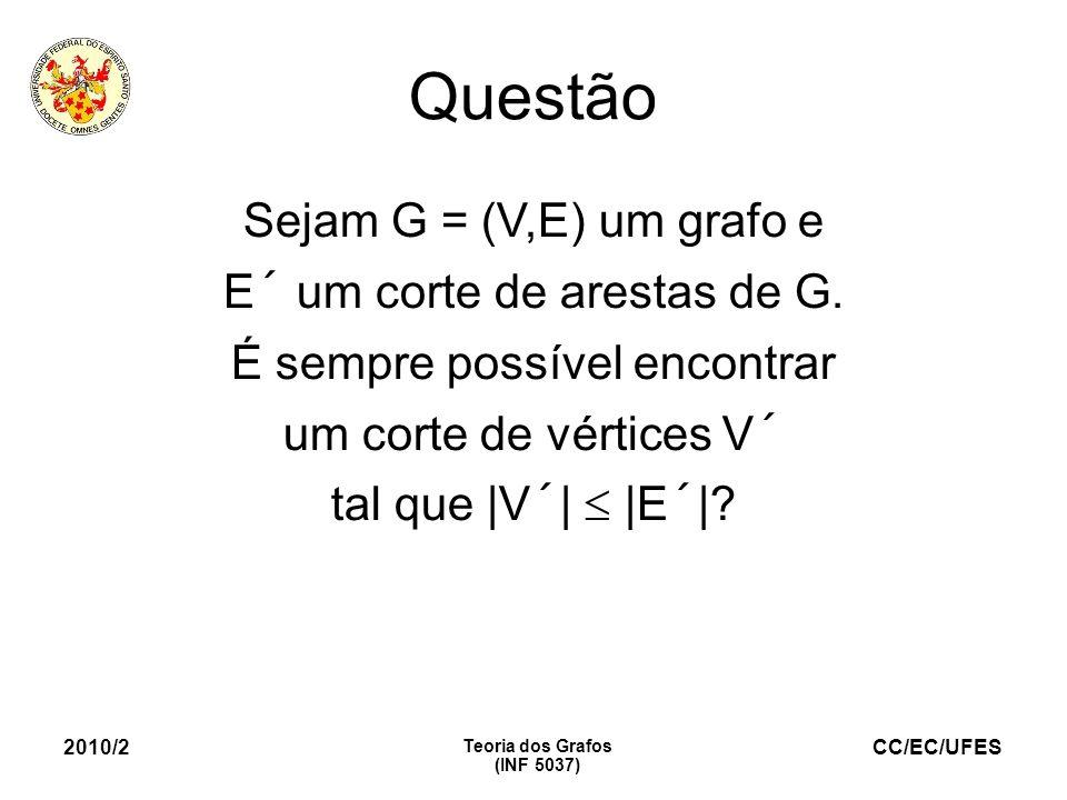 CC/EC/UFES 2010/2 Teoria dos Grafos (INF 5037) Questão Sejam G = (V,E) um grafo e E´ um corte de arestas de G. É sempre possível encontrar um corte de
