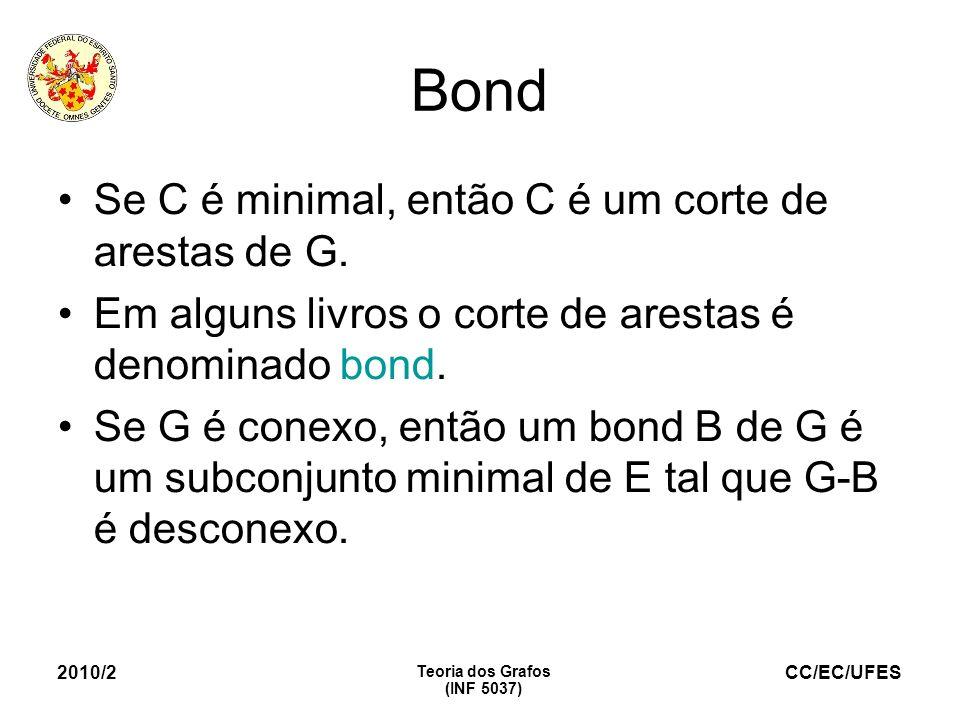 CC/EC/UFES 2010/2 Teoria dos Grafos (INF 5037) Bond Se C é minimal, então C é um corte de arestas de G. Em alguns livros o corte de arestas é denomina