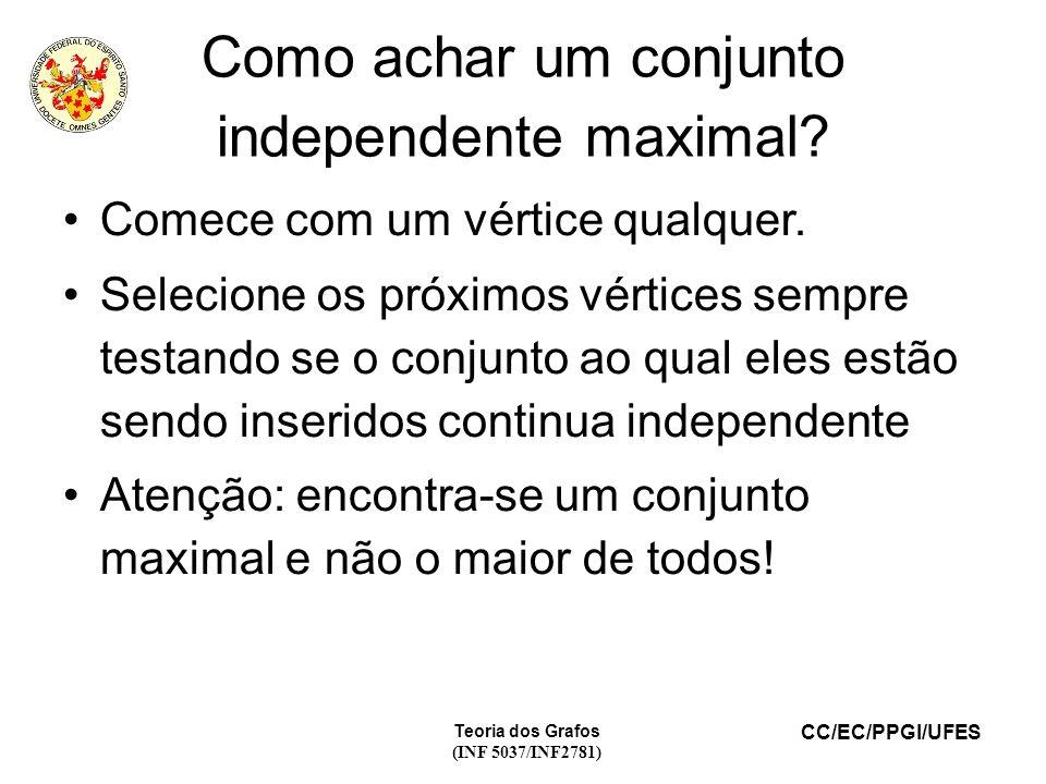 CC/EC/PPGI/UFES Teoria dos Grafos (INF 5037/INF2781) Como achar um conjunto independente maximal.