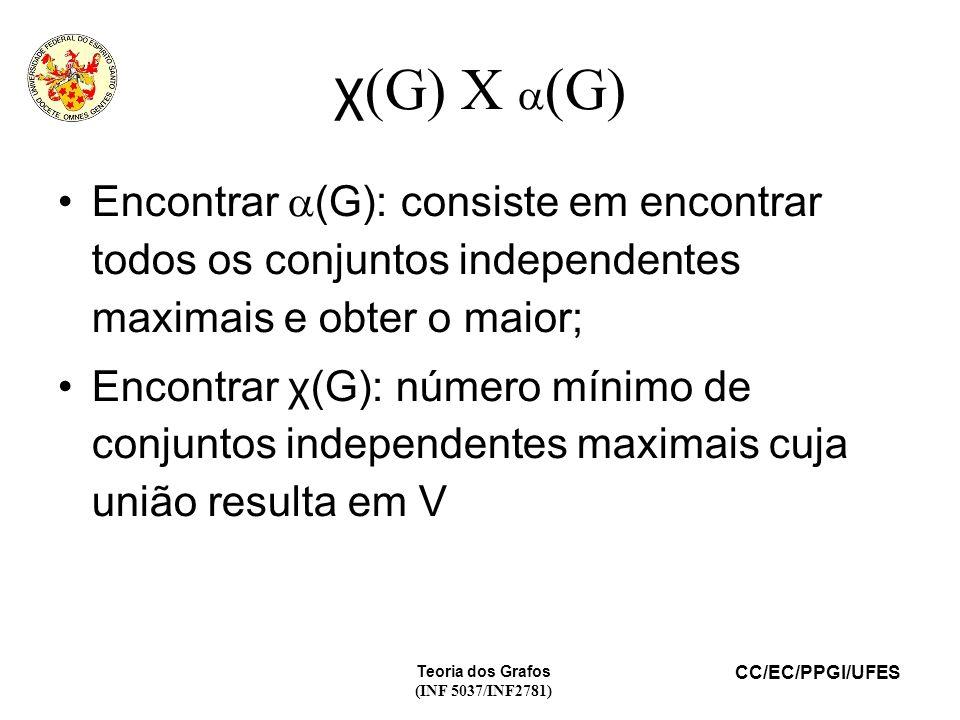 CC/EC/PPGI/UFES Teoria dos Grafos (INF 5037/INF2781) χ (G) X (G) Encontrar (G): consiste em encontrar todos os conjuntos independentes maximais e obter o maior; Encontrar χ(G): número mínimo de conjuntos independentes maximais cuja união resulta em V