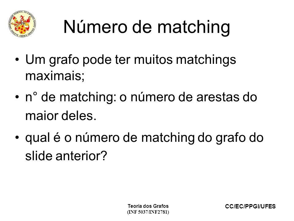 CC/EC/PPGI/UFES Teoria dos Grafos (INF 5037/INF2781) Número de matching Um grafo pode ter muitos matchings maximais; n° de matching: o número de arestas do maior deles.