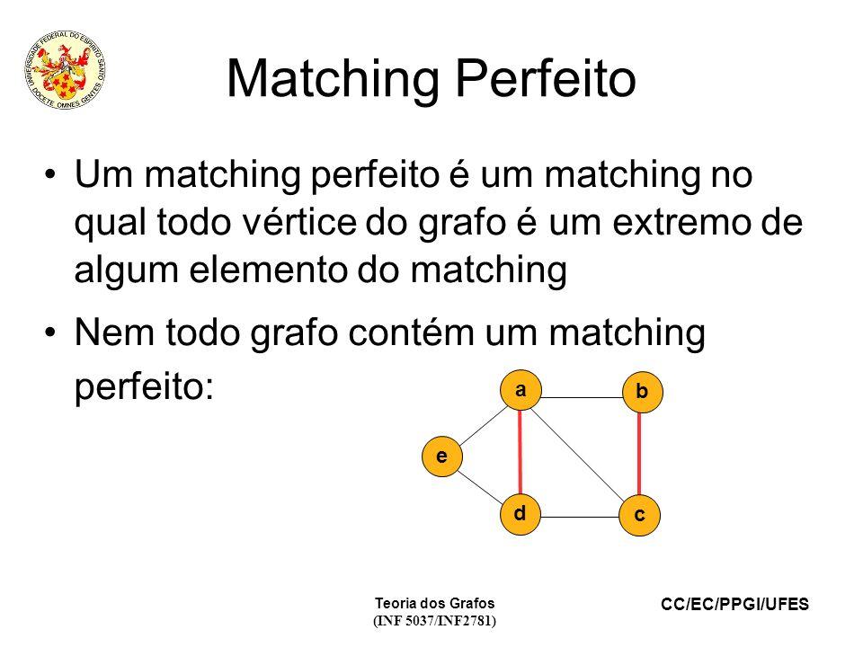 CC/EC/PPGI/UFES Teoria dos Grafos (INF 5037/INF2781) Matching Perfeito Um matching perfeito é um matching no qual todo vértice do grafo é um extremo de algum elemento do matching Nem todo grafo contém um matching perfeito: c b d e a