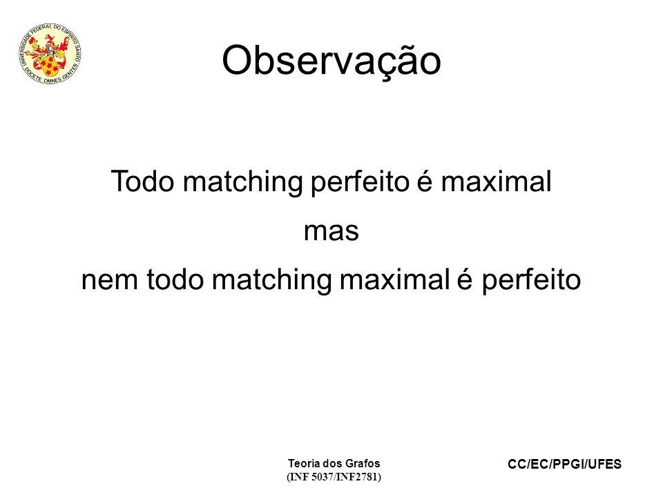 CC/EC/PPGI/UFES Teoria dos Grafos (INF 5037/INF2781) Observação Todo matching perfeito é maximal mas nem todo matching maximal é perfeito