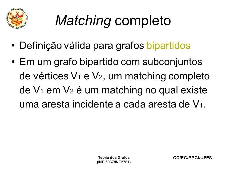 CC/EC/PPGI/UFES Teoria dos Grafos (INF 5037/INF2781) Matching completo Definição válida para grafos bipartidos Em um grafo bipartido com subconjuntos de vértices V 1 e V 2, um matching completo de V 1 em V 2 é um matching no qual existe uma aresta incidente a cada aresta de V 1.