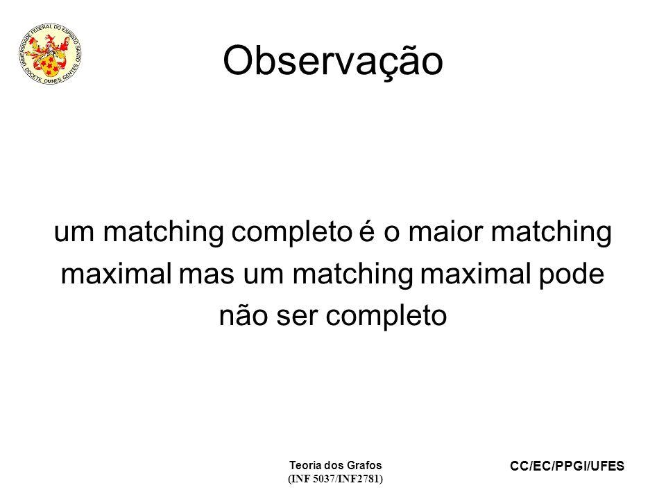 CC/EC/PPGI/UFES Teoria dos Grafos (INF 5037/INF2781) Observação um matching completo é o maior matching maximal mas um matching maximal pode não ser completo
