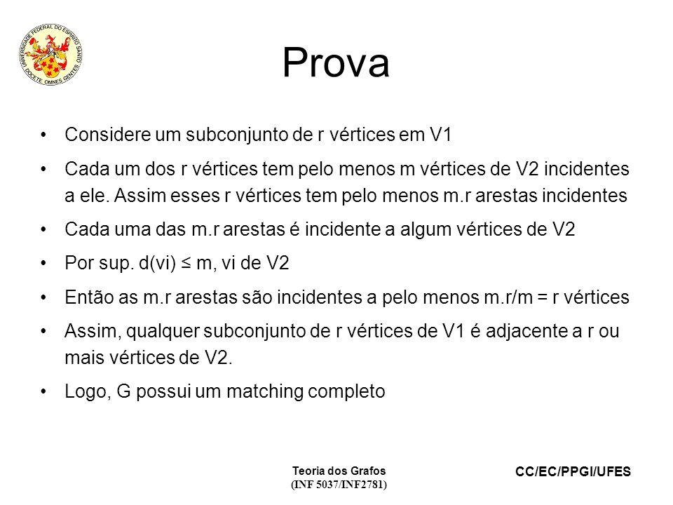 CC/EC/PPGI/UFES Prova Considere um subconjunto de r vértices em V1 Cada um dos r vértices tem pelo menos m vértices de V2 incidentes a ele.