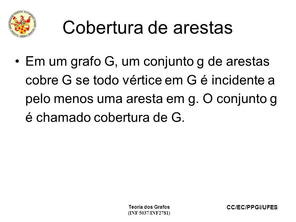 CC/EC/PPGI/UFES Teoria dos Grafos (INF 5037/INF2781) Cobertura de arestas Em um grafo G, um conjunto g de arestas cobre G se todo vértice em G é incidente a pelo menos uma aresta em g.