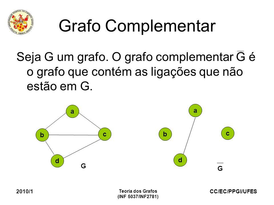 CC/EC/PPGI/UFES 2010/1 Teoria dos Grafos (INF 5037/INF2781) Grafo Complementar Seja G um grafo. O grafo complementar G é o grafo que contém as ligaçõe