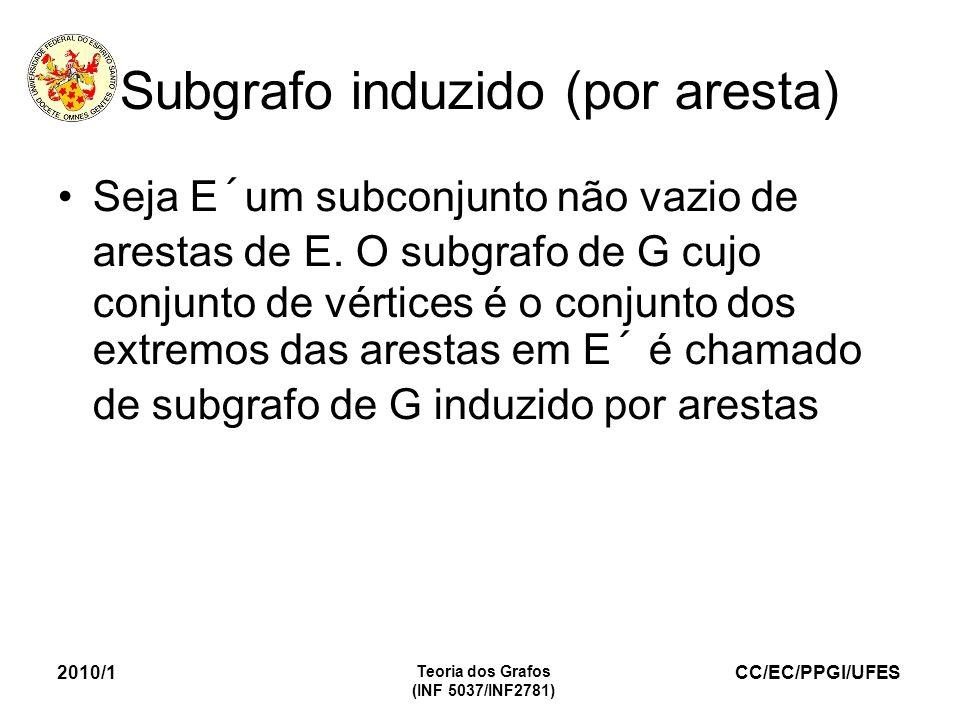 CC/EC/PPGI/UFES 2010/1 Teoria dos Grafos (INF 5037/INF2781) Subgrafo induzido (por aresta) Seja E´um subconjunto não vazio de arestas de E. O subgrafo