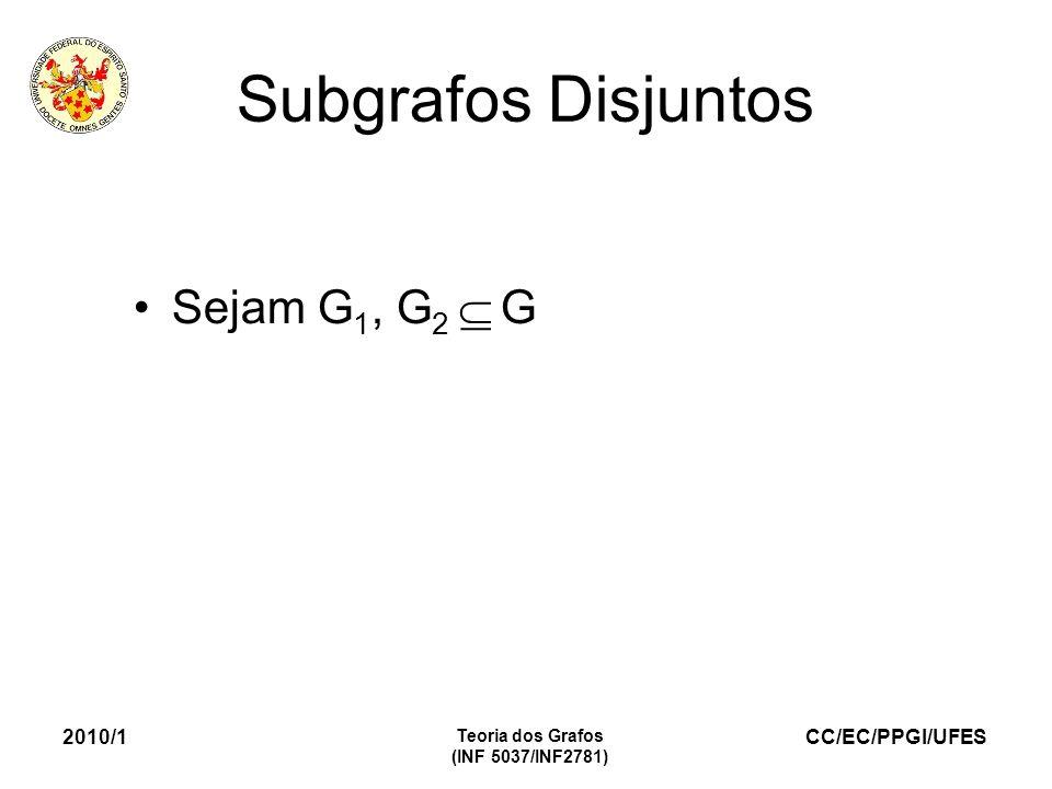 CC/EC/PPGI/UFES 2010/1 Teoria dos Grafos (INF 5037/INF2781) Subgrafos Disjuntos Sejam G 1, G 2 G