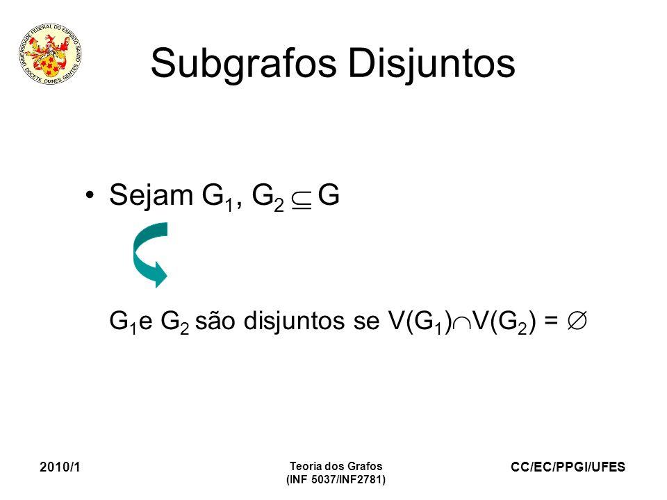 CC/EC/PPGI/UFES 2010/1 Teoria dos Grafos (INF 5037/INF2781) Subgrafos Disjuntos Sejam G 1, G 2 G G 1 e G 2 são disjuntos se V(G 1 ) V(G 2 ) =
