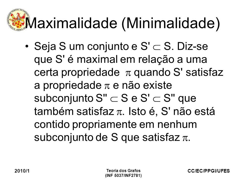 CC/EC/PPGI/UFES 2010/1 Teoria dos Grafos (INF 5037/INF2781) Maximalidade (Minimalidade) Seja S um conjunto e S' S. Diz-se que S' é maximal em relação