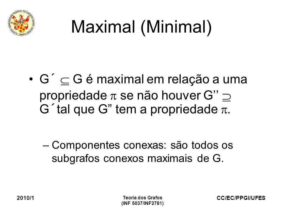 CC/EC/PPGI/UFES 2010/1 Teoria dos Grafos (INF 5037/INF2781) Maximal (Minimal) G´ G é maximal em relação a uma propriedade se não houver G G´tal que G