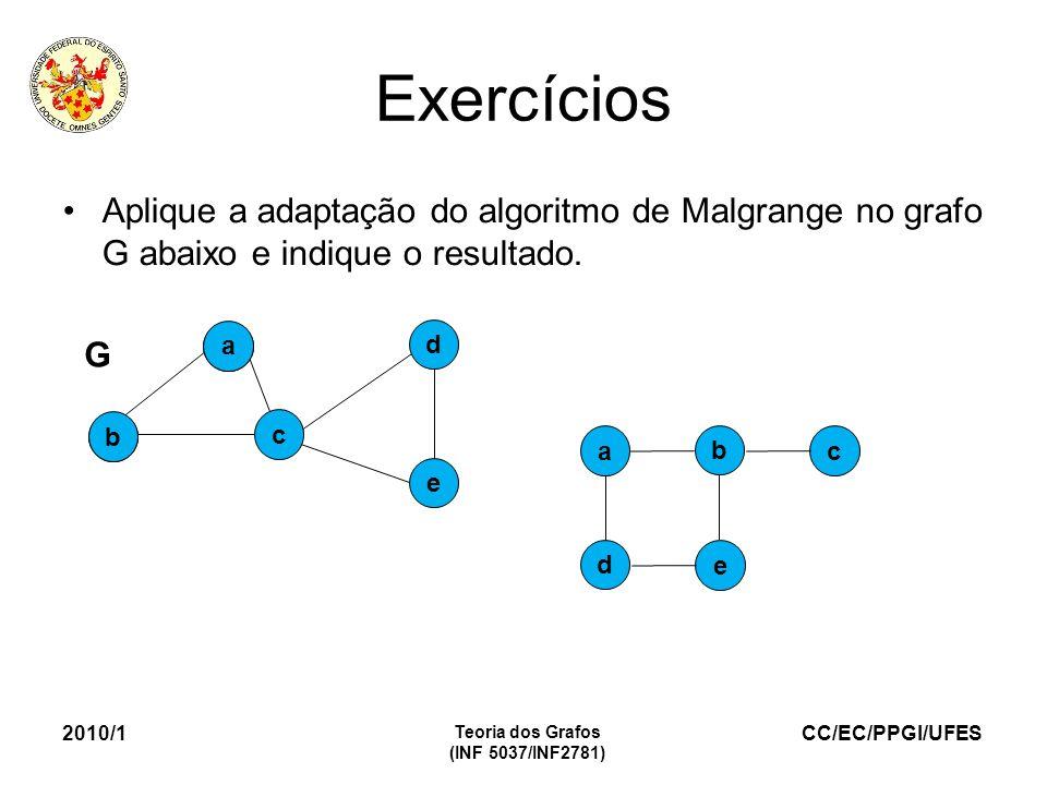 CC/EC/PPGI/UFES Exercícios Aplique a adaptação do algoritmo de Malgrange no grafo G abaixo e indique o resultado. 2010/1 Teoria dos Grafos (INF 5037/I