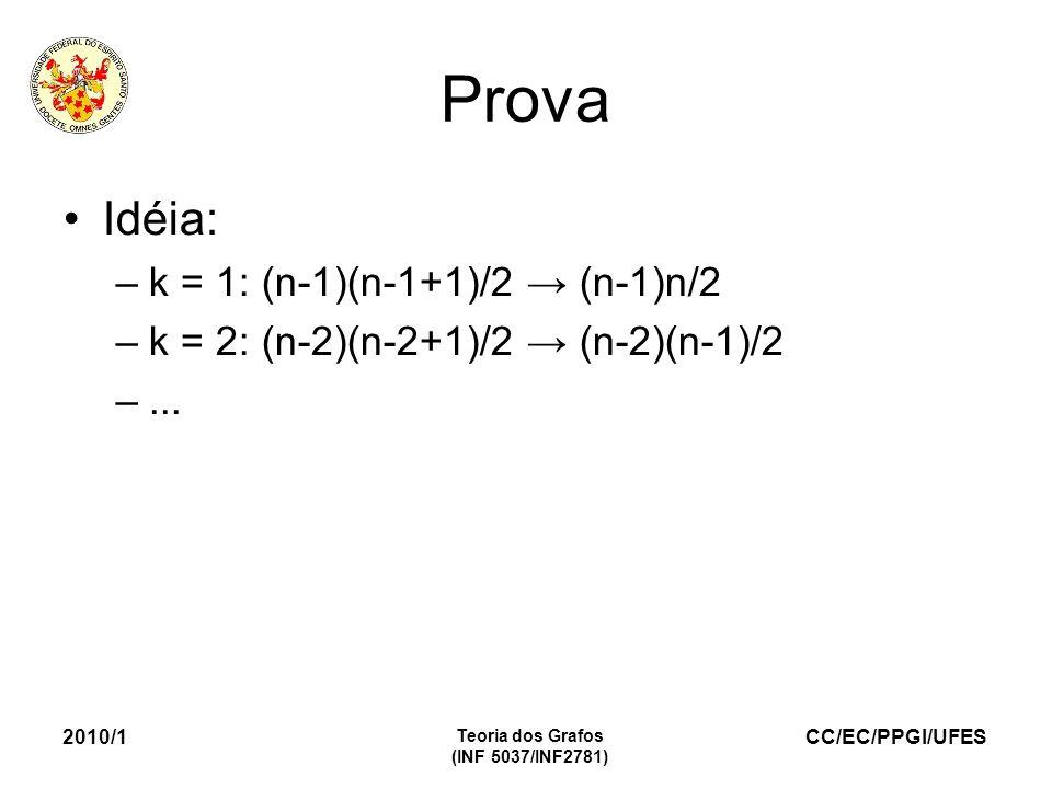 CC/EC/PPGI/UFES 2010/1 Teoria dos Grafos (INF 5037/INF2781) Prova Idéia: –k = 1: (n-1)(n-1+1)/2 (n-1)n/2 –k = 2: (n-2)(n-2+1)/2 (n-2)(n-1)/2 –...