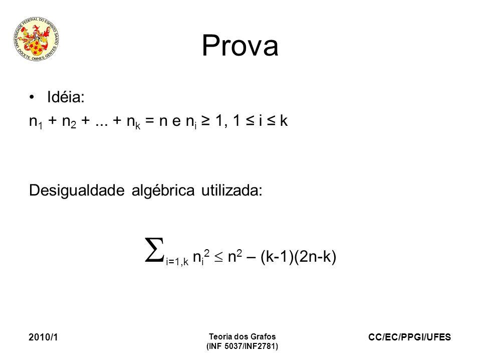 CC/EC/PPGI/UFES 2010/1 Teoria dos Grafos (INF 5037/INF2781) Prova Idéia: n 1 + n 2 +... + n k = n e n i 1, 1 i k Desigualdade algébrica utilizada: i=1