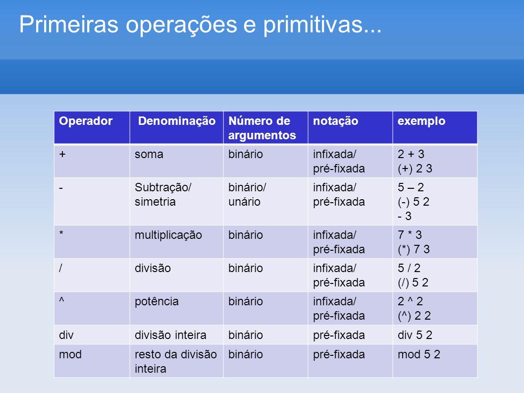 Primeiras operações e primitivas... Operador DenominaçãoNúmero de argumentos notaçãoexemplo +somabinárioinfixada/ pré-fixada 2 + 3 (+) 2 3 -Subtração/