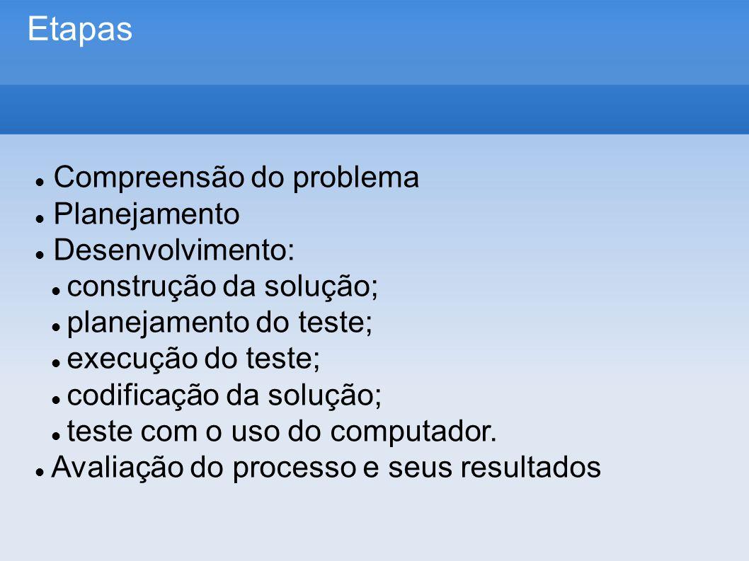 Etapas Compreensão do problema Planejamento Desenvolvimento: construção da solução; planejamento do teste; execução do teste; codificação da solução; teste com o uso do computador.