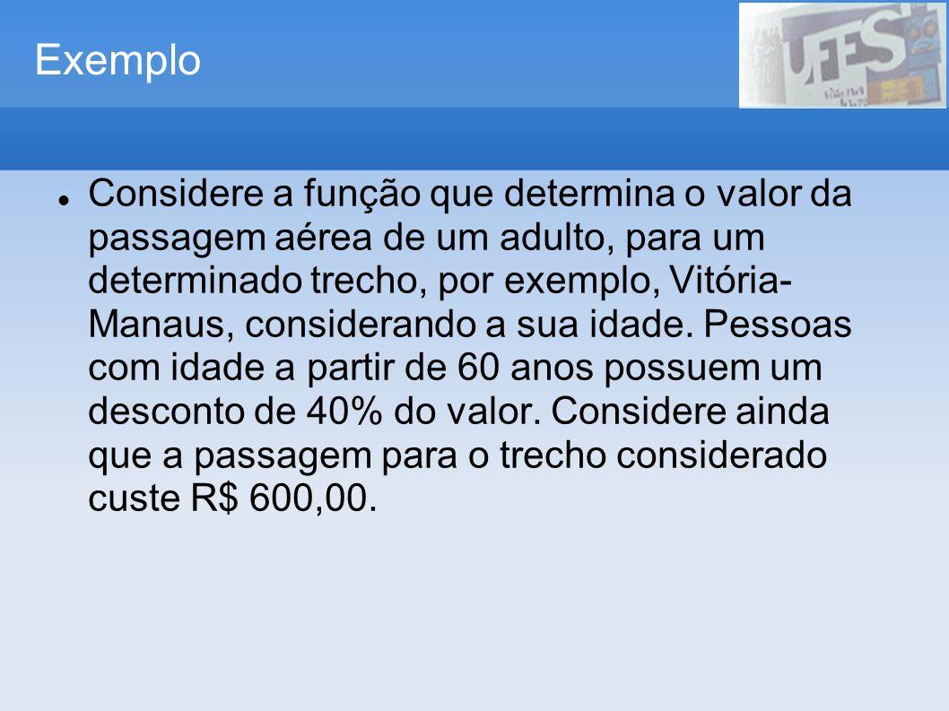 Exemplo Considere a função que determina o valor da passagem aérea de um adulto, para um determinado trecho, por exemplo, Vitória- Manaus, considerand