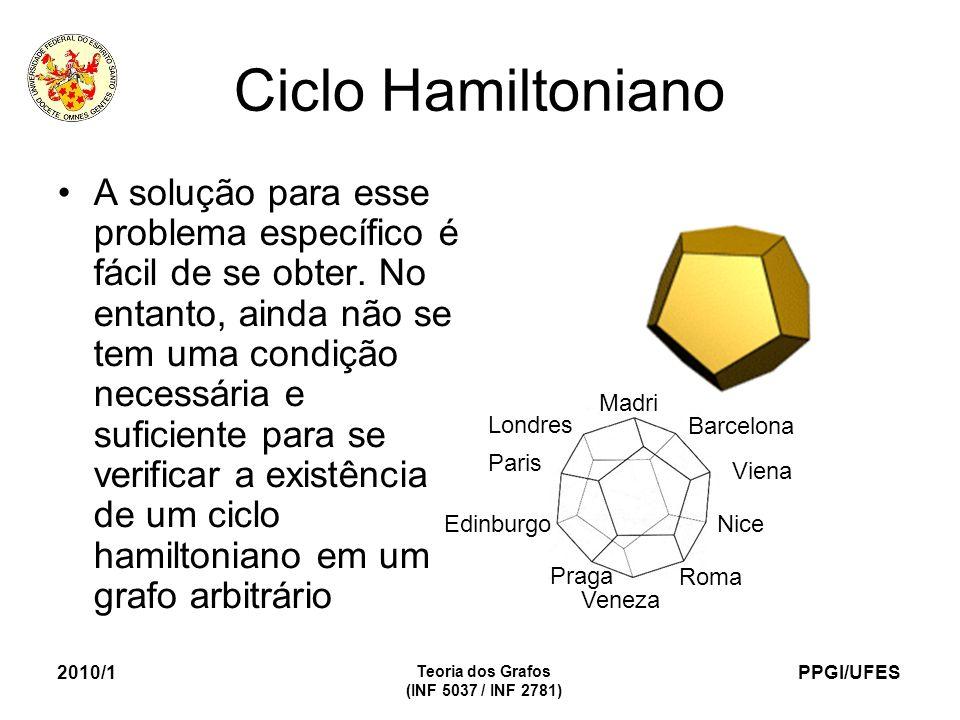 PPGI/UFES 2010/1 Teoria dos Grafos (INF 5037 / INF 2781) Ciclo Hamiltoniano A solução para esse problema específico é fácil de se obter. No entanto, a