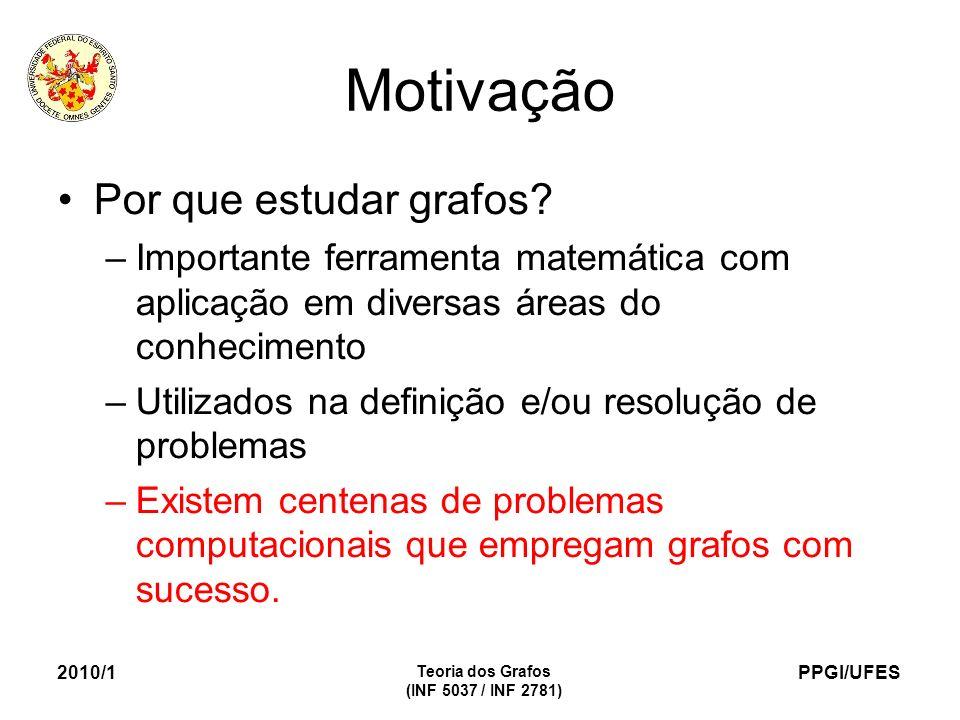 PPGI/UFES 2010/1 Teoria dos Grafos (INF 5037 / INF 2781) Motivação Por que estudar grafos? –Importante ferramenta matemática com aplicação em diversas