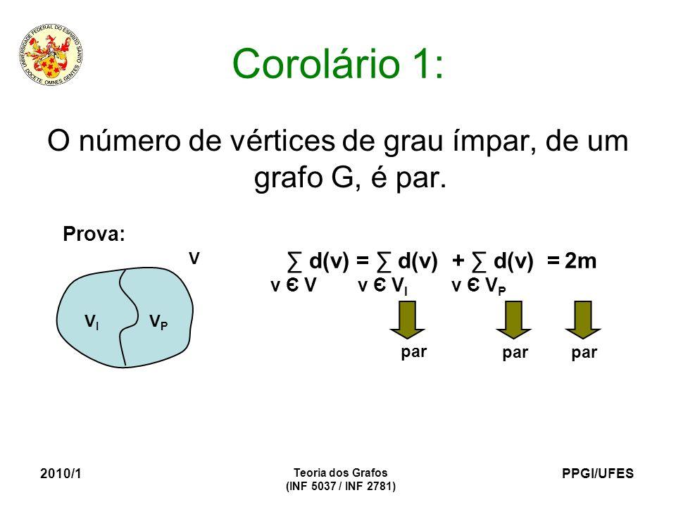 PPGI/UFES 2010/1 Teoria dos Grafos (INF 5037 / INF 2781) Corolário 1: O número de vértices de grau ímpar, de um grafo G, é par. Prova: V VIVI VPVP d(v
