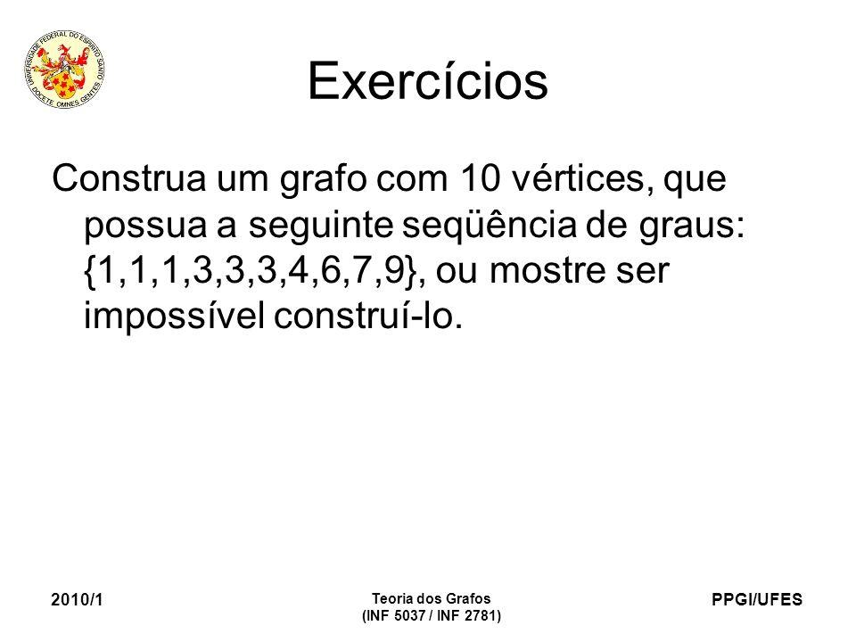 PPGI/UFES 2010/1 Teoria dos Grafos (INF 5037 / INF 2781) Exercícios Construa um grafo com 10 vértices, que possua a seguinte seqüência de graus: {1,1,1,3,3,3,4,6,7,9}, ou mostre ser impossível construí-lo.