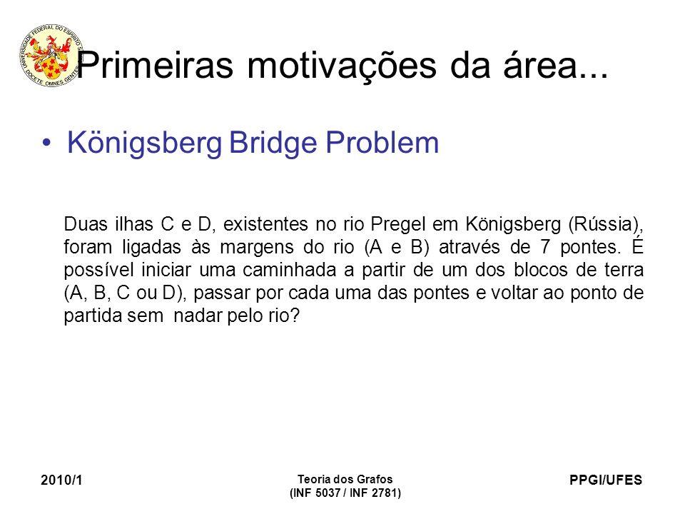 PPGI/UFES 2010/1 Teoria dos Grafos (INF 5037 / INF 2781) Primeiras motivações da área... Königsberg Bridge Problem Duas ilhas C e D, existentes no rio