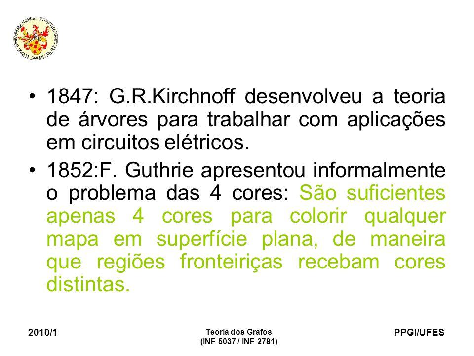 PPGI/UFES 2010/1 Teoria dos Grafos (INF 5037 / INF 2781) 1847: G.R.Kirchnoff desenvolveu a teoria de árvores para trabalhar com aplicações em circuitos elétricos.