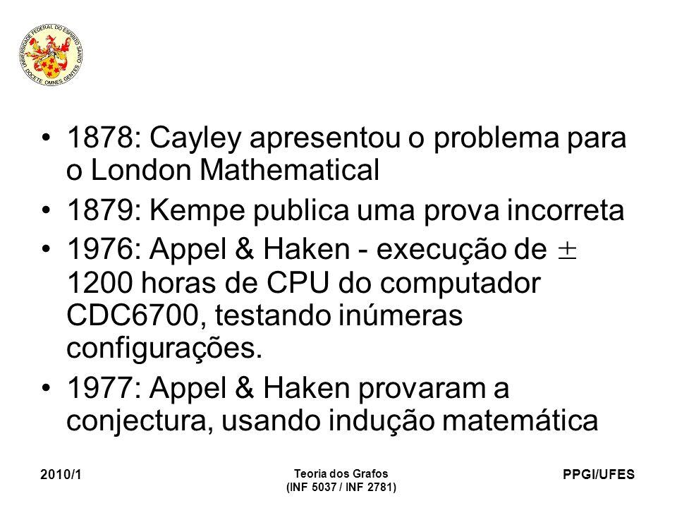 PPGI/UFES 2010/1 Teoria dos Grafos (INF 5037 / INF 2781) 1878: Cayley apresentou o problema para o London Mathematical 1879: Kempe publica uma prova incorreta 1976: Appel & Haken - execução de ± 1200 horas de CPU do computador CDC6700, testando inúmeras configurações.