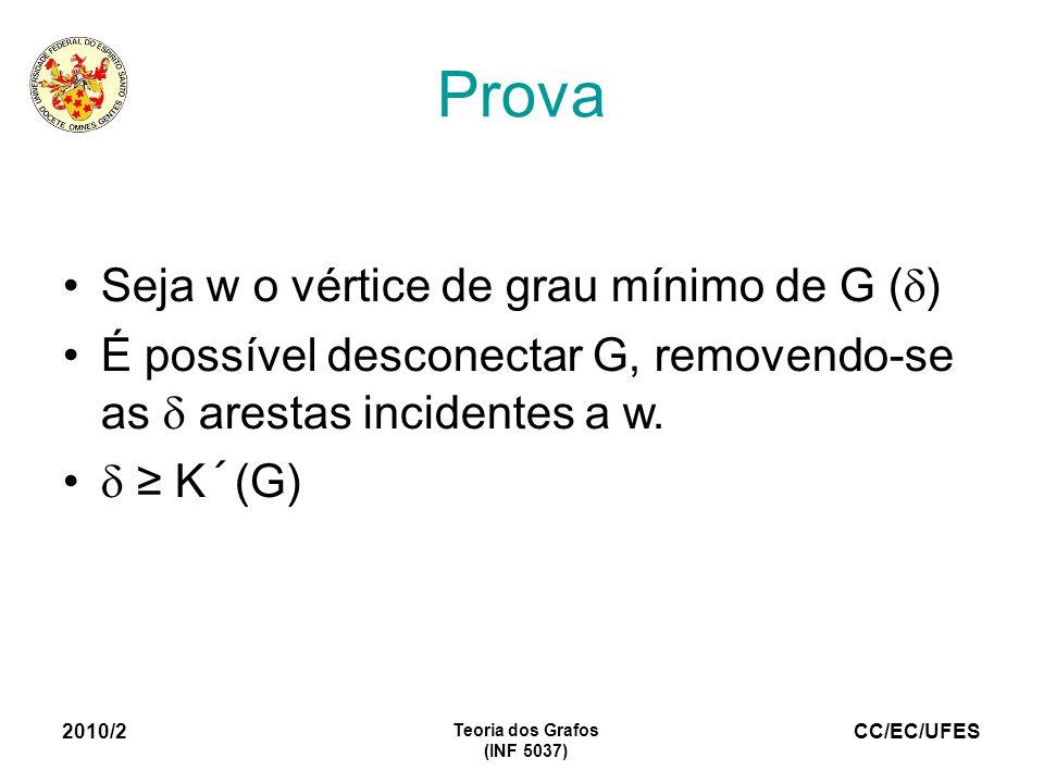 CC/EC/UFES 2010/2 Teoria dos Grafos (INF 5037) Prova Seja w o vértice de grau mínimo de G ( ) É possível desconectar G, removendo-se as arestas incide