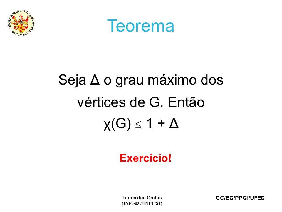 CC/EC/PPGI/UFES Teoria dos Grafos (INF 5037/INF2781) Teorema Seja Δ o grau máximo dos vértices de G. Então χ(G) 1 + Δ Exercício!