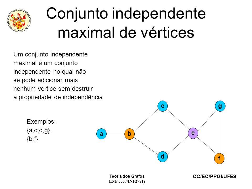 CC/EC/PPGI/UFES Teoria dos Grafos (INF 5037/INF2781) Conjunto independente maximal de vértices a d f gc e b Um conjunto independente maximal é um conj