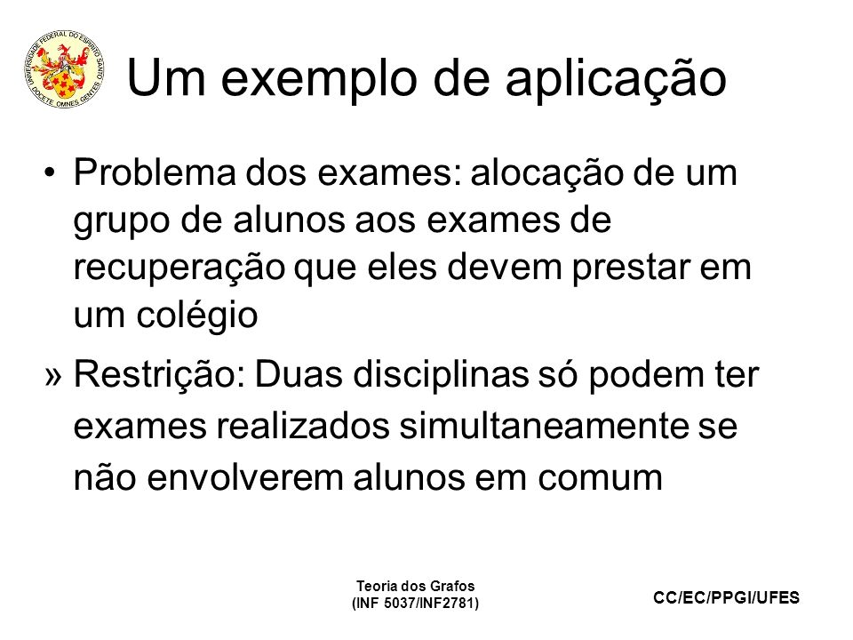 CC/EC/PPGI/UFES Um exemplo de aplicação Teoria dos Grafos (INF 5037/INF2781) Alunos Disciplinas 12345678910111213141516 Mat.xxxx Port.xxxx Ingl.xxxx Geog.xxxx Hist.xxxx Físicaxxxx Químicaxxxx Biologiaxxxx Teoria dos Grafos (INF 5037/INF2781)