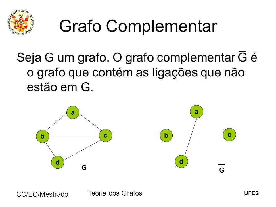 UFES CC/EC/Mestrado Teoria dos Grafos Grafo Complementar Seja G um grafo. O grafo complementar G é o grafo que contém as ligações que não estão em G.
