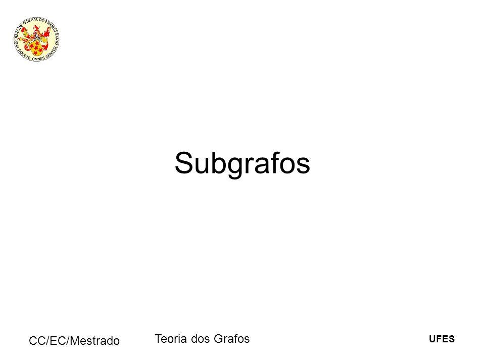 UFES CC/EC/Mestrado Teoria dos Grafos Subgrafos