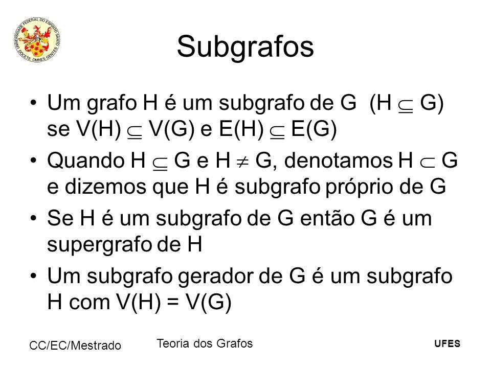 UFES CC/EC/Mestrado Teoria dos Grafos Subgrafos Um grafo H é um subgrafo de G (H G) se V(H) V(G) e E(H) E(G) Quando H G e H G, denotamos H G e dizemos