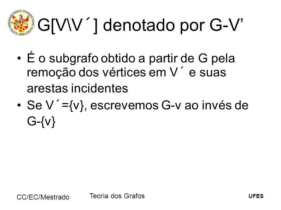 UFES CC/EC/Mestrado Teoria dos Grafos G[V\V´] denotado por G-V É o subgrafo obtido a partir de G pela remoção dos vértices em V´ e suas arestas incide