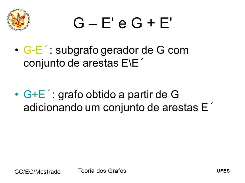 UFES CC/EC/Mestrado Teoria dos Grafos G – E' e G + E' G-E´: subgrafo gerador de G com conjunto de arestas E\E´ G+E´: grafo obtido a partir de G adicio