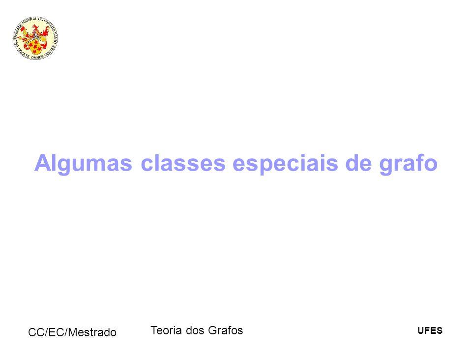UFES CC/EC/Mestrado Teoria dos Grafos Algumas classes especiais de grafo