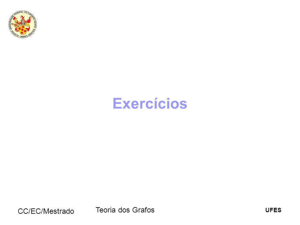 UFES CC/EC/Mestrado Teoria dos Grafos Exercícios