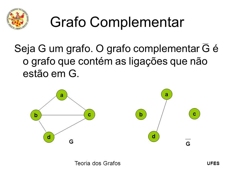 UFES Teoria dos Grafos Grafo Complementar Seja G um grafo. O grafo complementar G é o grafo que contém as ligações que não estão em G. a b c d G a b c