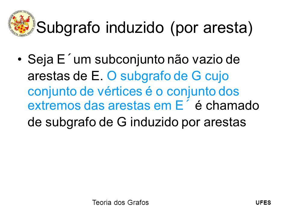 UFES Teoria dos Grafos Subgrafo induzido (por aresta) Seja E´um subconjunto não vazio de arestas de E. O subgrafo de G cujo conjunto de vértices é o c
