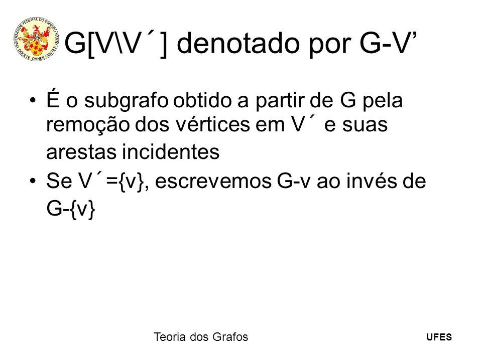 UFES Teoria dos Grafos G[V\V´] denotado por G-V É o subgrafo obtido a partir de G pela remoção dos vértices em V´ e suas arestas incidentes Se V´={v},