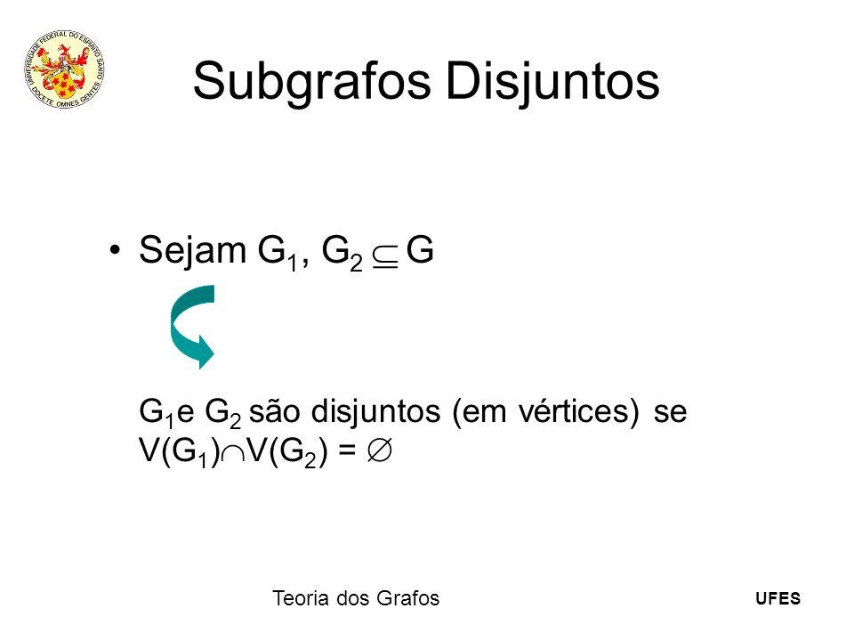 UFES Teoria dos Grafos Subgrafos Disjuntos Sejam G 1, G 2 G G 1 e G 2 são disjuntos (em vértices) se V(G 1 ) V(G 2 ) =