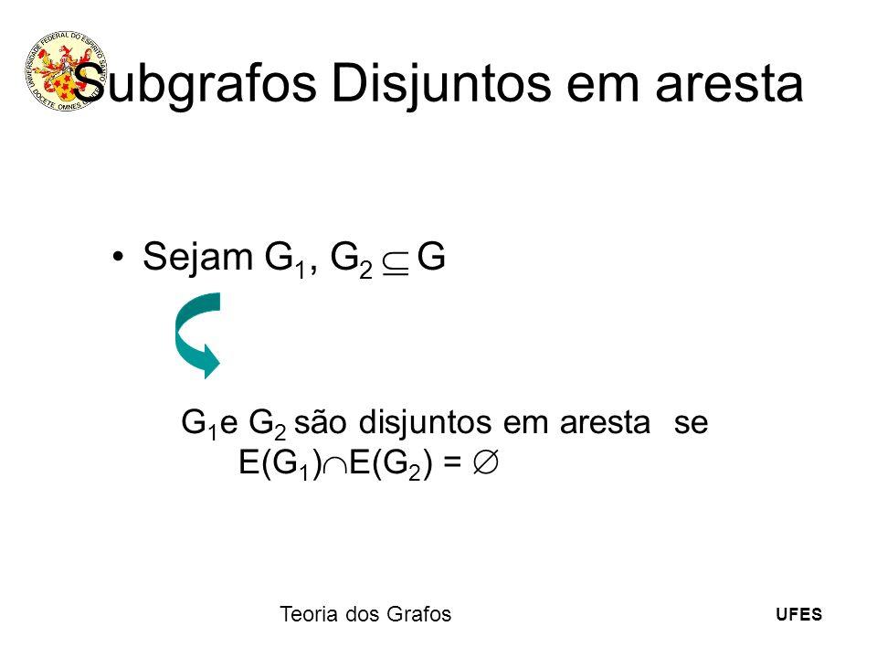 UFES Teoria dos Grafos Subgrafos Disjuntos em aresta Sejam G 1, G 2 G G 1 e G 2 são disjuntos em aresta se E(G 1 ) E(G 2 ) =