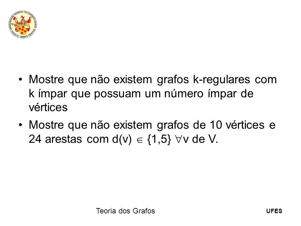 UFES Teoria dos Grafos Mostre que não existem grafos k-regulares com k ímpar que possuam um número ímpar de vértices Mostre que não existem grafos de