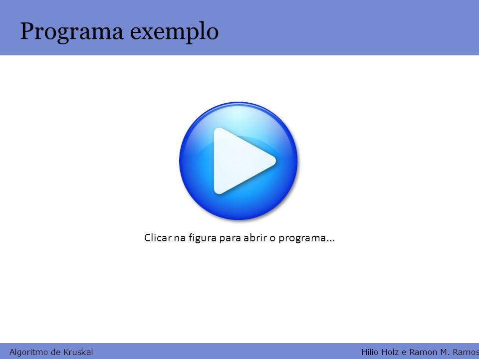 Hilio Holz e Ramon M. Ramos Algoritmo de Kruskal Programa exemplo Clicar na figura para abrir o programa...
