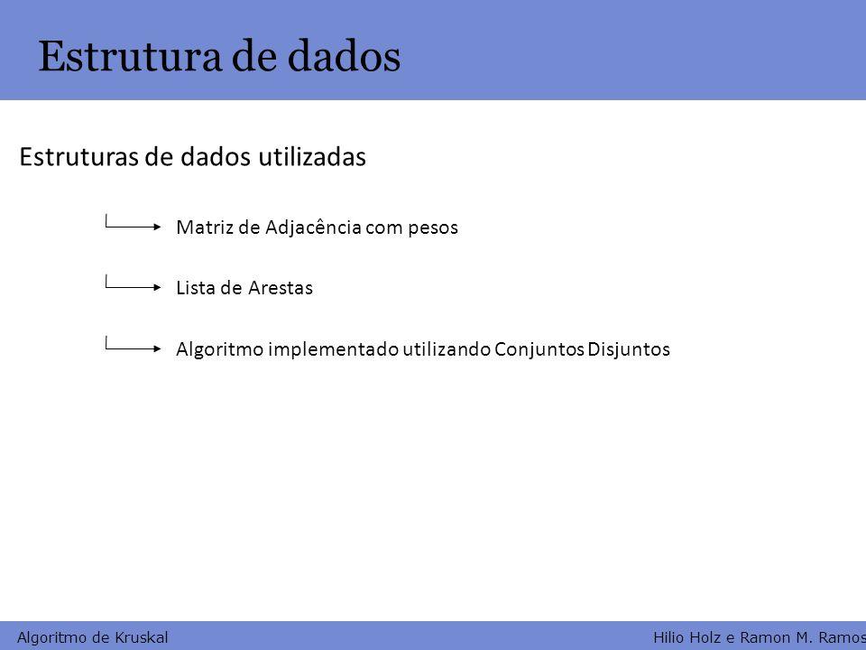 Hilio Holz e Ramon M. Ramos Algoritmo de Kruskal Estrutura de dados Matriz de Adjacência com pesos Lista de Arestas Estruturas de dados utilizadas Alg