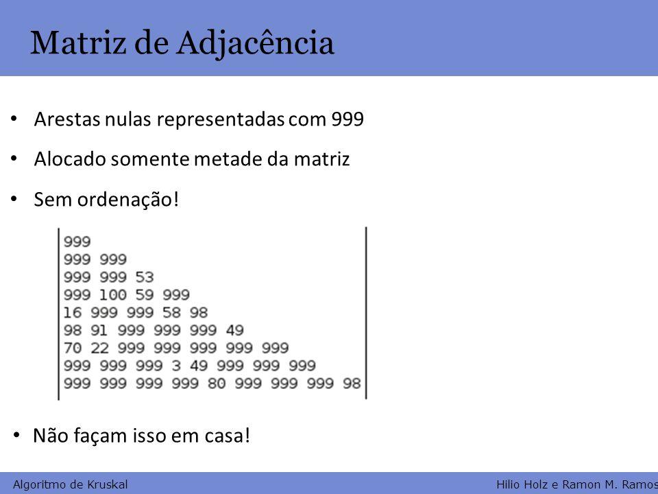 Hilio Holz e Ramon M. Ramos Algoritmo de Kruskal Matriz de Adjacência Arestas nulas representadas com 999 Alocado somente metade da matriz Sem ordenaç